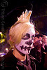blond mohawk - white skull makeup - dia de los muertos - halloween (san francisco), day of the dead, dia de los muertos, face painting, facepaint, halloween, makeup, man, night