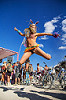jumping bunny girl - olivia - burning man 2016, bicycles, braided hair, braids, bunny ears, burning man, jump shot, woman