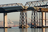 temporary bridge piers - the new bay bridge - construction (san francisco), bridge construction, bridge pillars, caltrans, infrastructure, new bay bridge, new san francisco-oakland bay bridge, san francisco bay bridge, sf bay, water