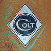 colt logo, abandoned, circle, colt defense, decay, diamond, hunter's point, industrial, logo, lozenge, metal, plate, rhombus, rusted, rusty
