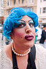 maximum mitch with blue wig and drag makeup - brides of march (san francisco), blue hair, blue wig, brides of march, festival, man, maximum mitch, wedding, white
