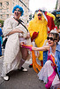 it's a boy! - man in drag getting check-out by a woman - brides of march (san francisco), blue hair, blue wig, brides of march, chicken costume, festival, man, palpation, wedding, white