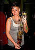 barista holding a stack of beer glasses - just another day at the knockout bar (san francisco), bar tender, barista, barman, barwoman, beer glasses, bussing, drinking glasses, jacqulynn, knockout bar, stack, tattooed, tattoos, woman