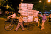 freight tricycle with heavy load of cargo - delhi (india)