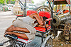 cycle rickshaw driver sleeping near cannon - jaipur (india)