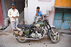 "royal enfield motorbike - ""bullet"" 350cc, 350cc, green, motorbike touring, motorcycle touring, people, road, royal enfield bullet, udaipur"