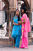 blue and pink - women in jama masjid mosque - delhi (india)