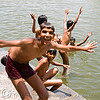 kids bathing in lake - udaipur (india)