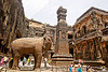 kailash temple - elephant sculpture - ellora caves (india)