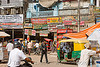 street in delhi (india), auto rickshaw, delhi, shop signs, street