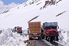 trucks crossing - manali to leh road (india)