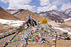 prayer flags on lachulung pass - manali to leh road (india)