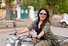grace riding ben's royal enfield motorcycle - leh (india)
