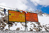 signs with incorrect (inflated) elevation - khardungla pass - ladakh (india)