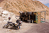 motorcycle and overturned truck - khardungla pass - ladakh (india)