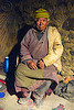 old farmer in his house - pangong lake - ladakh (india)