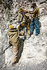 workers using pneumatic drill - drilling and blasting - road construction - ladakh (india)