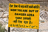 now you are out of danger area - sign - leh to srinagar road - kashmir