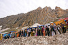 line of pilgrims heading for the cave - amarnath yatra (pilgrimage) - kashmir