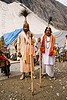sadhus (hindu holy men) with ceremonial head dresses - amarnath yatra (pilgrimage) - kashmir