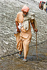 pilgrim in flip-flop shoes on glacier trail - amarnath yatra (pilgrimage) - kashmir