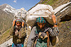 porters carrying heavy loads on trail - amarnath yatra (pilgrimage) - kashmir