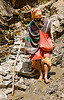 bare-feet sadhu (hindu holy man) on trail - amarnath yatra (pilgrimage) - kashmir