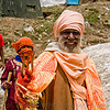 sadhu (hindu holy man) with trident - amarnath yatra (pilgrimage) - kashmir, amarnath yatra, baba, beard, hindu holy man, hinduism, kashmir, mountain trail, mountains, old man, pilgrim, pilgrimage, sadhu, trekking, trident, yatris, अमरनाथ गुफा