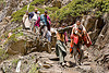 porters carrying exhausted woman on trail - amarnath yatra (pilgrimage) - kashmir