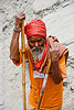 sadhu (hindu holy man) - amarnath yatra (pilgrimage) resting on trail - kashmir