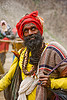 sadhu (hindu holy man) on trail - amarnath yatra (pilgrimage) - kashmir