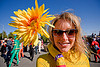 woman with yellow flower - superhero street fair (san francisco), flower, islais creek promenade, superhero street fair, woman, yellow