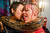 pet boa snake around melody and friend, boa constrictor, melody, pet snake, reptile, sticking out tongue, sticking tongue out, women