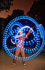 spinning blue LED light poi - flowlights (san francisco), fire dancer, fire dancing, fire performer, fire spinning, flowlights, flowtoys, glowing, led lights, led poi, led staff, light poi, light staffs, long exposure, nicky evers, night, spinning fire