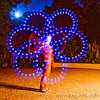 nicky spinning blue LED light poi - flowlights (san francisco), fire dancer, fire dancing, fire performer, fire spinning, flowlights, flowtoys, glowing, led lights, led poi, led staff, light poi, light staffs, long exposure, nicky evers, night, spinning fire