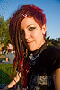 fashion shot - lux, bandana, dolores park, esthetic suicide, fashion, green eyed, green eyes, hair clip, lux, red hair, woman