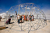 assembling a geodesic dome - burning man 2009, burning man, geodesic dome, sukkat shalom, truss