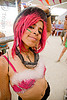 mumu - burning man 2009, burning man, center camp, colored hair, goggles, mumu, pink hair, woman