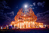 burning man temple under the full moon - burning man 2009, burning man, fire of fires, full moon, long exposure, night, temple