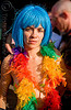 rainbow feathers - folsom street fair 2008 (san francisco), blue hair, blue wig, feathers, folsom street fair, rainbow colors, woman