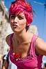 woman with pink hair and a rose, festival, kiss, love fest, lovevolution, mwuah, pink hair, rose, woman