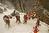 pilgrims on dandis / dholis (chairs carried by 4 porters) - amarnath yatra (pilgrimage) - kashmir