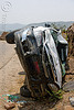 TATA indica, car accident, car crash, front, kashmir, overturned car, road, rollover, tata indica, tata motors, traffic accident, white, wreck