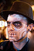 man with stencil airbrush skull face paint - dia de los muertos - halloween (san francisco)