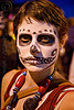 skull makeup - dia de los muertos - halloween (san francisco), beads, day of the dead, dia de los muertos, face painting, facepaint, halloween, necklace, night, short hair, sugar skull makeup, woman