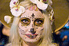 skull makeup - dia de los muertos - halloween (san francisco), day of the dead, dia de los muertos, face painting, facepaint, flowers, halloween, night, sugar skull makeup, white, woman