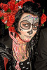 skull makeup - red roses - dia de los muertos - halloween (san francisco), day of the dead, dia de los muertos, face painting, facepaint, flowers, halloween, makeup, night, red, roses, woman