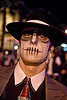 skull makeup - gangster hat - dia de los muertos - halloween (san francisco), airbrush, day of the dead, dia de los muertos, face painting, facepaint, fedora hat, gangster hat, halloween, makeup, man, necktie, night, stencil, vatra
