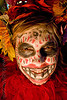 skull makeup - red feathers - dia de los muertos - halloween (san francisco), day of the dead, dia de los muertos, face painting, facepaint, feathers, halloween, helen, night, red, sugar skull makeup, woman