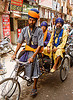 sikh devotees on cycle rickshaw - amritsar (india)